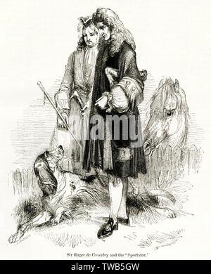 Sir Roger de Coverley, un pays fictif squire personnage créé par Joseph Addison dans le spectateur au début du 18e siècle, après qu'une danse a été nommé. Date: 1843 Photo Stock