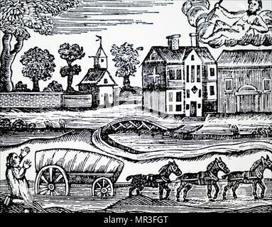 Gravure intitulée 'Hercule et l'Wagoner'. L'wagoner appelant les Hercules de l'aider à extraire son chariot de la boue. En date du 18e siècle Photo Stock