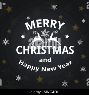 Carte de Noël avec des flocons de vecteur d'accueil et d'inscription sur un fond noir. Joyeux Noël le lettrage Photo Stock