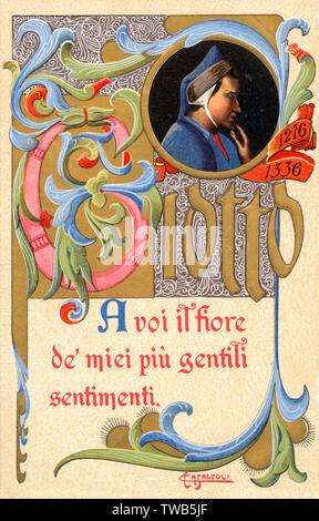 """Commémorant l'artiste carte Giotto (1267-1337), célèbre en tant que peintre de fresques.La légende plutôt élégamment se lit comme suit: """"À vous la fleur de mes sincères sentiments."""" Date: 1904 Photo Stock"""