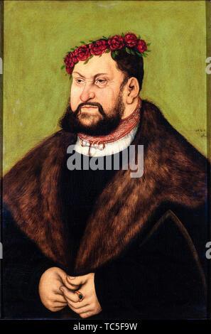 Lucas Cranach le Vieux, Johann la ferme, Électeur de Saxe, 1468-1532, portrait, 1526 Photo Stock