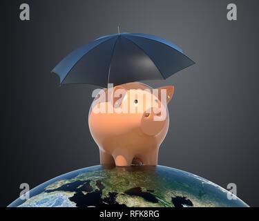 Tirelire sous parapluie. Éléments de cette image fournie par la NASA. 3D illustration Photo Stock