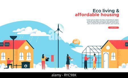 Green eco friendly maisons et biens immobiliers landing page web template. Heureux les gens en logement durable de la communauté. Bâtiment moderne w Photo Stock