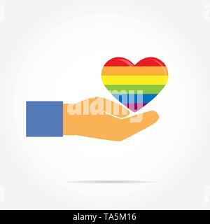 Part prend en charge la silhouette d'un cœur aux couleurs de LGBT, modèle plat Photo Stock
