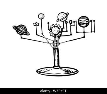 Modèle mécanique du système solaire, les planètes dans l'espace. Tellurion ou planétaire. Croquis d'astronomie pour emblème ou logo dans le style vintage. Hand drawn Photo Stock