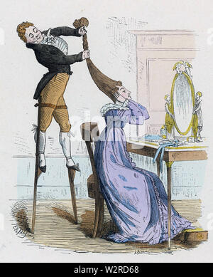 La coiffure d'un dessin animé français de 1820 Photo Stock