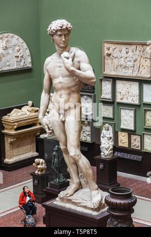 L'Angleterre, Londres, Knightsbridge, Victoria and Albert Museum, le Cast Cast, Tribunaux du David de Michel-Ange Photo Stock