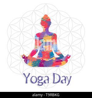 Yoga International Day Greeting card illustration de lotus de poser dans l'art abstrait coloré de texture. Photo Stock