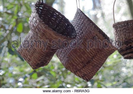 Des paniers faits main Cherokee, Qualla Réservation, Caroline du Nord. Photographie numérique Photo Stock