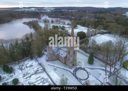 Château de Hillsborough, neige de l'hiver Photo Stock