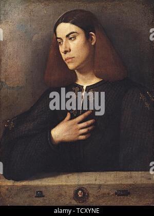 Portrait d'un jeune homme (Antonio Brocardo?), ca 1509-1510. On trouve dans la collection de Szepmuveszeti Muzeum, Budapest. Photo Stock