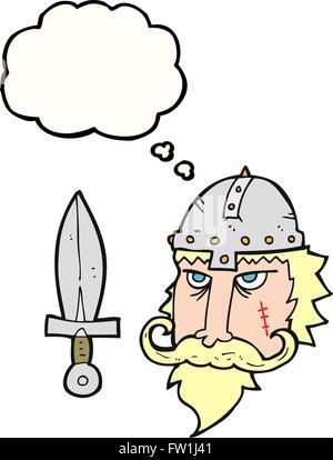 Freehand appelée bulle pensée guerrier viking cartoon Photo Stock