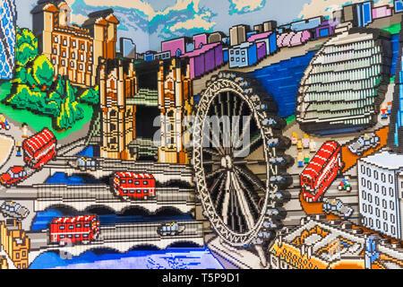 L'Angleterre, Londres, Leicester Square, magasin Lego Lego, fresque de scènes de Londres Photo Stock
