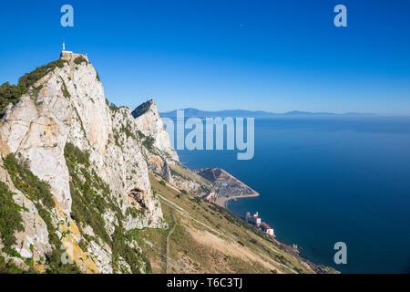 Gibraltar, vue sur le rocher de Gibraltar et la baie d'Caltalan Photo Stock