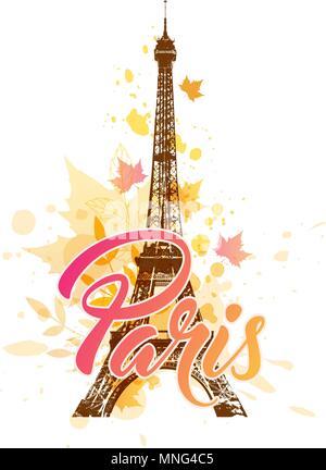 Vector background avec Tour Eiffel et tomber l'automne feuilles d'érable Photo Stock