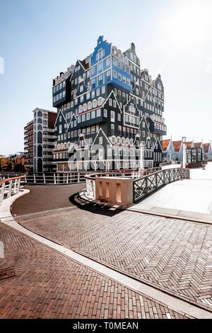 Hôtel avec une architecture exceptionnelle à Zaandam près d'Amsterdam, Pays-Bas Photo Stock