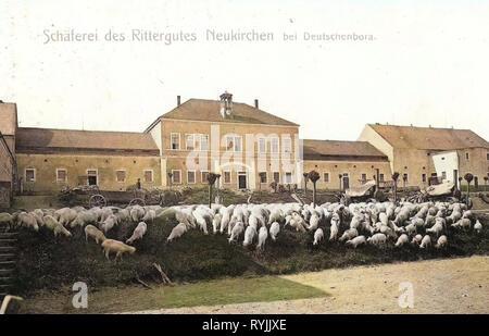 Neukirchen (Reinsberg), de l'Agriculture dans le Landkreis de Meissen, en Saxe, Rittergüter Leiterwagen, moteurs de traction, des moutons, des bergers en Allemagne En Allemagne, l'élevage des moutons en Allemagne, 1899, Landkreis Meißen, Neukirchen, des Rittergutes Schäferei Photo Stock