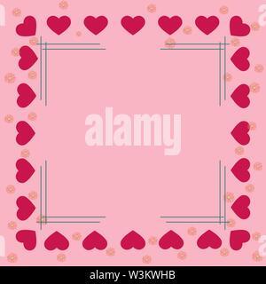 Coeur rose et des fleurs sur les frontières d'un fond rose avec un cadre au milieu. Solution idéale pour la conception et la décoration de salutations. Photo Stock