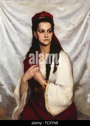 Portrait de l'actrice (Raa-Winterhjelm Charlotta Germany 1838-1907), 1876. On trouve dans la Collection de la Suomen Kansallisteatteri. Photo Stock