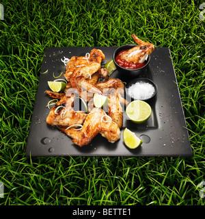 Ailes de poulet au barbecue avec des oignons de printemps, la chaux, le sel et le ketchup sur un fond d'herbe. Photo Stock
