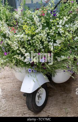 Rickshaw indien couvert de fleurs sauvages à Daylesford Organic Farm festival d'été. Daylesford, Cotswolds, Gloucestershire, Angleterre Photo Stock