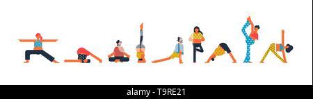 Groupe de personnes diverses faisant du yoga constituent l'exercice sur fond blanc isolé. Les hommes et les femmes pour définir le concept de remise en forme. Photo Stock