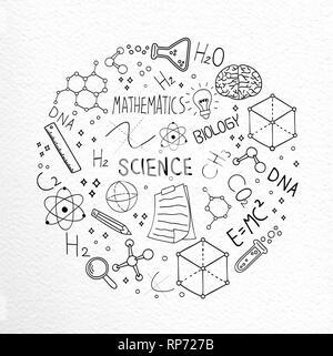Illustration de la science concept de hand drawn doodle des icônes pour l'éducation et de la recherche plus texturé. Photo Stock