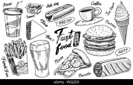 Restauration rapide, burger et hamburger, tacos et hot-dog, bière, verre et burrito et glaces. Vintage Esquisse pour menu du restaurant. Faites à la main en rétro Photo Stock