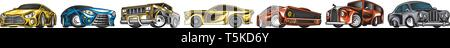Muscle cars et transports vintage pour logo et étiquettes. Ensemble de service auto retro old school. Collection de roadster classique. Gravé à la main Photo Stock