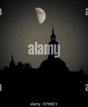 Flock of birds flying passé building at night avec demi-lune dans l'arrière-plan. Moody, sombre et Photo Stock
