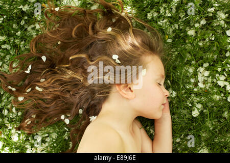 Girl sleeping in champ avec pétales de fleurs Photo Stock