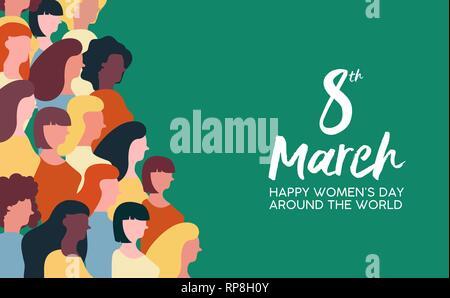 Heureux Jour Femmes illustration de célébration du 8 mars. Groupe de Femmes marchant ensemble pour l'égalité des droits. Photo Stock