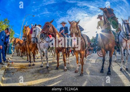Cavaliers, foire d'avril, Séville, Espagne. Photo Stock
