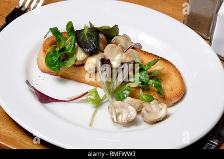 Champignons sur toast on white plate Photo Stock