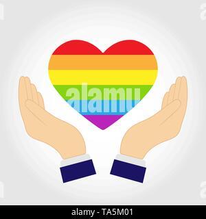 Deux mains soutenir coeur silhouette en couleurs LGBT, modèle plat Photo Stock
