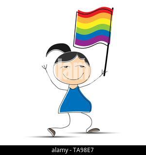 Hand drawn cartoon girl walking et tenant un drapeau aux couleurs de la communauté LGBT Photo Stock
