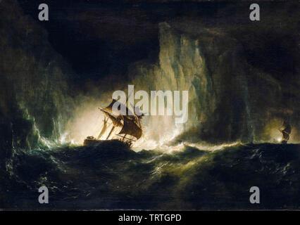 Le HMS Erebus en passant par la chaîne d'icebergs, 1842, peinture, 1860 Photo Stock