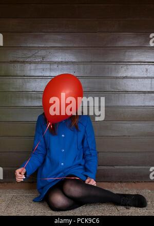 Jeune femme,balloon Photo Stock