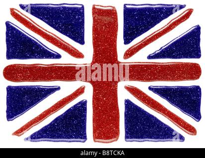 Union Jack composé de bleu et rouge vernis à ongles Photo Stock
