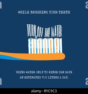 Journée mondiale de l'illustration avec eco friendly durable conseils pour aider l'environnement et de l'eau mondiale de sensibilisation. Pour vous brosser les dents deviennent Photo Stock