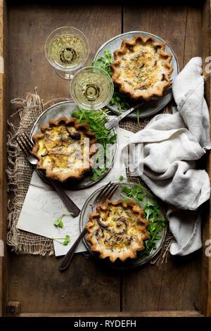 Quiche aux champignons sans gluten Photo Stock
