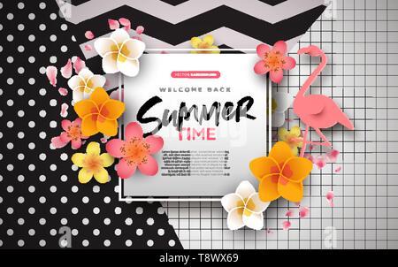 Saison d'arrière-plan modèle de carte de vœux. 3d colorée de fleurs tropicales et de copie papier avec flamingo l'espace pour un texte personnalisé. Photo Stock