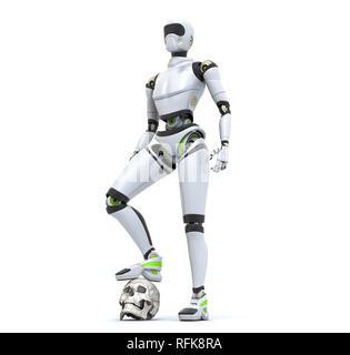 Robot debout dans le désert avec son pied sur le crâne Photo Stock