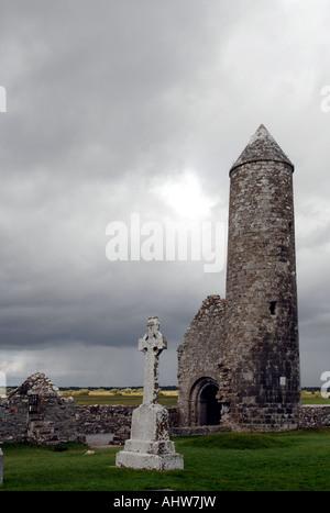 Le monastère de Clonmacnoise Settlement Photo Stock
