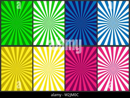 Rayons colorés rayonnent à partir du centre. Ensemble de milieux en spirale colorée pour la conception et la décoration Photo Stock
