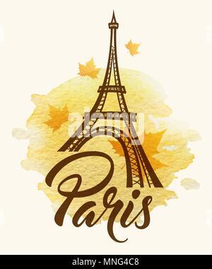 Vector background avec la tour Eiffel et la texture aquarelle jaune Photo Stock