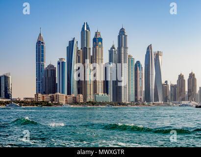 La Marina de Dubaï, Dubaï, Émirats arabes unis, Moyen Orient Photo Stock