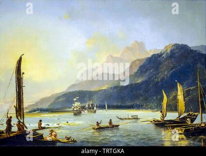 Résolution et l'aventure avec la pêche de plaisance dans la baie de Matavai, Tahiti, peinture, 1776 Photo Stock