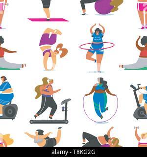 Filles remise en forme grande taille modèle homogène. Sport santé en club. Grosse femme de faire les exercices, perte de poids, s'exécutant sur le simulateur, l'échauffement Photo Stock