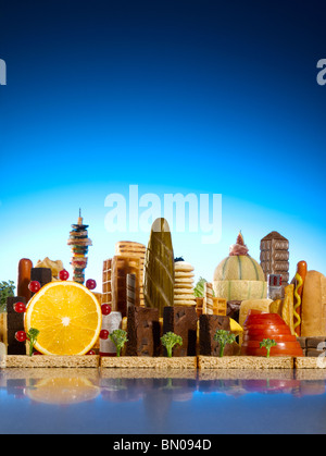 London city skyline faite d'aliments Photo Stock